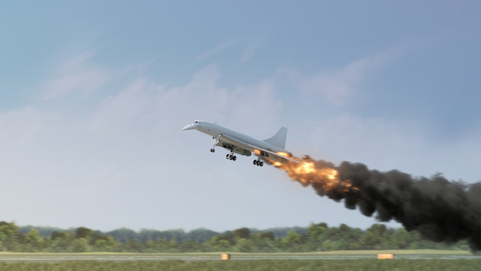 The Concorde's engine ignites as it lifts off.
