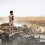 """Due to low temperature a freezing village boy stands next  to natural thermal hot water pool while his water buffalos are already enjoying the heat. Shot in March 2014 at Bitlis, East Anatolia, Turkey TURKISH: Doğal termal sıcak su kaynağının yanında sağuktan fazlası ile etkilenmiş çoban çocuk, mandalarının yanına, havuza girmek üzere. Mart 2014'de Bitlis'de çekildi."""