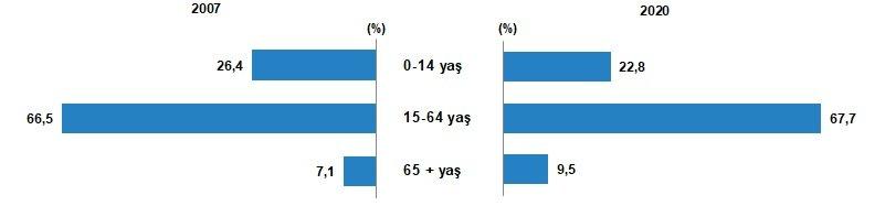 Yaş gruplarına göre nüfus oranı, 2007, 2020